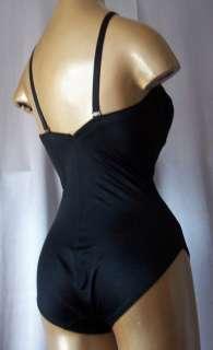 80s strapless BOMBSHELL BLACK LACY BODY SHAPER GIRDLE  sz 34 C