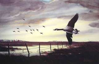 Les Kouba HIT HARD Canada Geese Signed Numbered Print