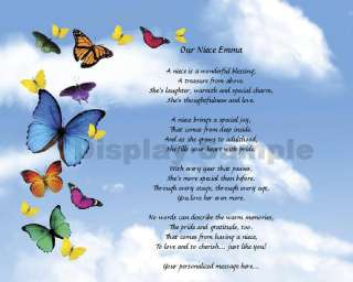 Personalized Poem Birthday Or Christmas Gift Idea Butterflies Print