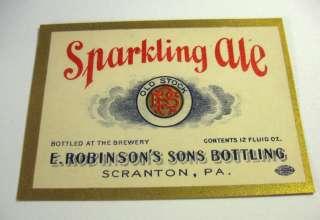 PROHIBITION) E. ROBINSONS SONS ALE 12OZ BEER BOTTLE LABEL SCRANTON PA