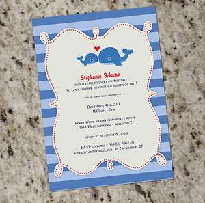 Little Squirt* Whale themed Baby Shower or Party Invitation