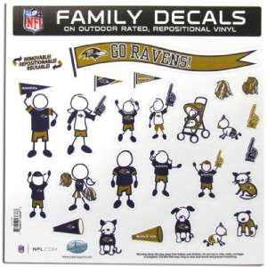 Baltimore Ravens Family Decals Large Car Auto Sheet 25pc