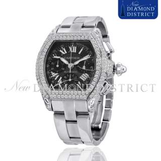 TOTAL DIAMOND EXTRA LARGE CARTIER ROADSTER CHRONOGRAPH WATCH