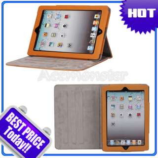 Cute Cartoon Graffitti Embossing iPad 2 Magnetic Smart Cover Leather