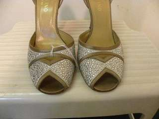 VALENTINO Silver Satin Jeweled Heels Shoes 38.5/8.5