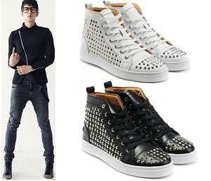 Mens Celebrity Spike Studded Shoes Mid top SneakersUS6.5 9.5 Free
