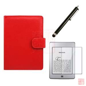 Red Leather Case Cover+Stylus+Screen Protector for  Kindle Touch