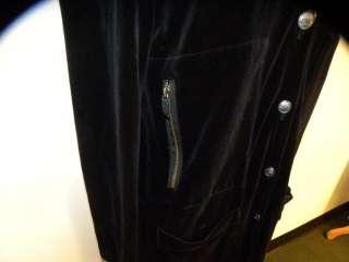 SONIA RYKIEL Black Velour Button Down Dress 42/10