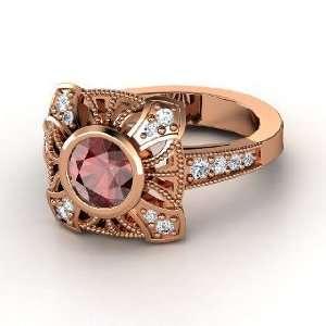 Chevalier Ring, Round Red Garnet 14K Rose Gold Ring with