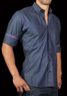 Mens Shirt STONE ROSE EZE 651 Navy Blue Button up WovenVery Shiny