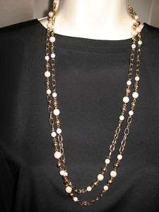 NWT  Charter Club Long Pearl 60 Gold Chain Necklace  RT$36