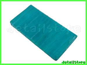EEL SKIN CHECKBOOK CASE COVER CARD HOLDER WALLET TEAL