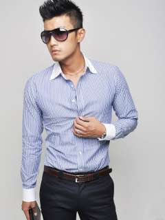 CT46 New Mens Fashion SlimFit Luxury Stylish Strip Dress Shirts BLUE