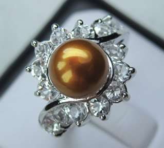 Fancy New 18K gold plated Freshwater pearl Ring size 7.5