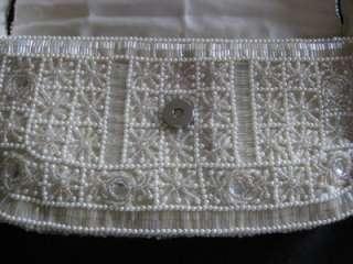 Gorgeous CHRISTIANA Ivory Beaded + Pearls Handbag NWT
