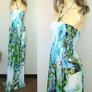 Vtg 60s Flower Smock Strapless Maxi Dress M L XL XXL