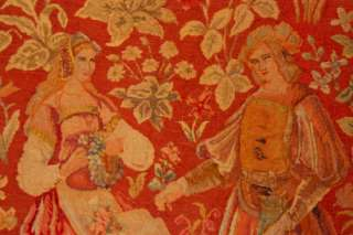 ANTIQUE BEAUTIFUL HANDMADE TAPESTRY 16TH CENTURY FLEMISH LOVERS GARDEN