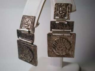 Antique Signed Peruvian Sterling Silver Screw Back Hinged Dangle