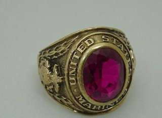 Solid Gold United States Marine Class Style Ring w/ Red Stone