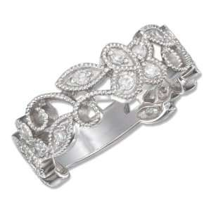 Sterling Silver 7mm Wide Cubic Zirconia Floral Vine Band Ring