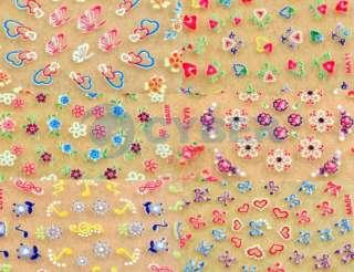 50x3D Design Tip Nail Art Sticker Decal Manicure Flower