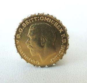 VINTAGE ANTIQUE George V SOLID GOLD COIN RING INDIA