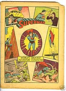 RARE COMIC BOOK SUPERMAN Jan/Feb 1941, NO. 8, no covers