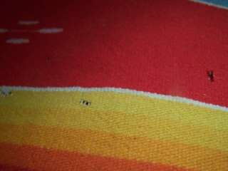 Mexican Large Serape Saltillo Blanket Bright Red Colors OLD