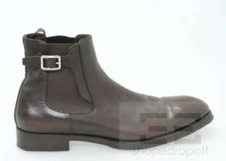 Prada Mens Brown Leather Buckled Ankle Boots Size 10