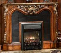 Warm Brown Rococo Electric Fireplace