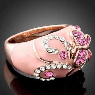 Arinna Swarovski Crystal butterfly pink fashion Ring