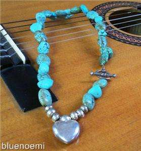 Turquoise gemstones sterling silver heart necklace NEW