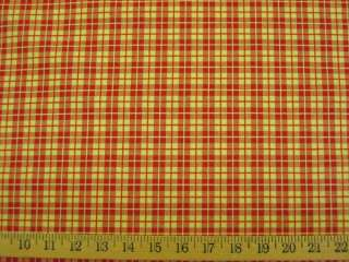 yd Red and Yellow Gold Check Drapery Upholstery Fabric r8425