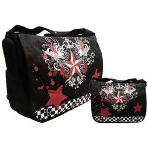 Punk Messenger Bag Gothic Skull Bag Rd & Blk Sports