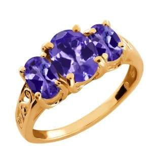 2.45 Ct Oval Blue Tanzanite Gemstone Gold Plated Argentium