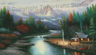 Cabin Near Lake Mountain   Original Canvas Oil Painting