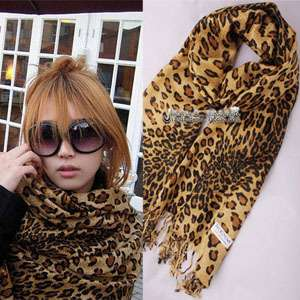 Cashmere Women Leopard scarf scarves shawl wrap with tassels Hfi