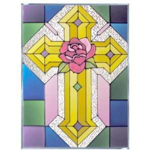 Gold Cross Pink Rose 10.25 x 14 Painted Art Glass Window