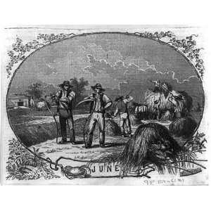 June,Farm scene,Men cutting hay,scythes,wagon,1854