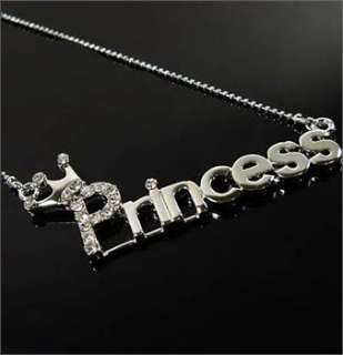 Korean Style Cute Crown PRINCESS Word Crystal Necklace x95 great gift