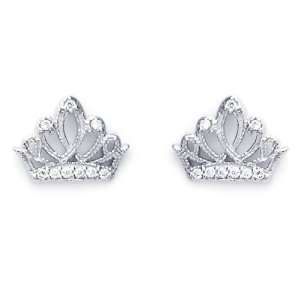 14K White Gold Plated Sterling Silver Crown CZ Stud Screw