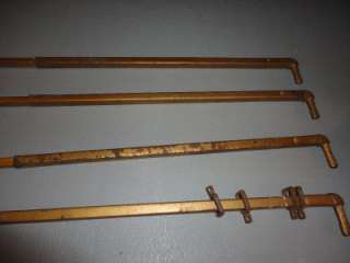 Set 4 Antique Art Deco Gold Metal Painted Curtain Rods Matching
