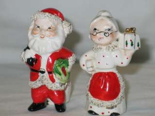 Christmas Commodore ceramic Santa & Mrs Claus Candle Holders 1950s