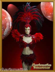 Charismatico Red Drag Queen SAMBA RIO CARNIVAL Feather Headdress BRA
