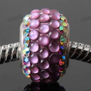 AB Pink 925 Sterling Silver Resin Czech Crystal European Bead