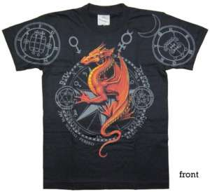 RED FIRE DRAGON Discharge T Shirt Black D45 New Size M