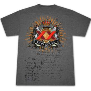 Dos Equis Heraldry Heather Grey Graphic Tee Shirt