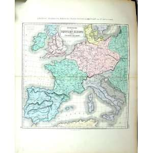 Philip Antique Map C1855 Ancient Germany France Italy