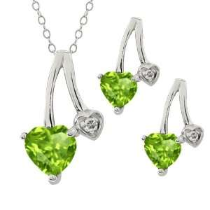 1.87 Ct Heart Shape Green Peridot Sterling Silver Pendant