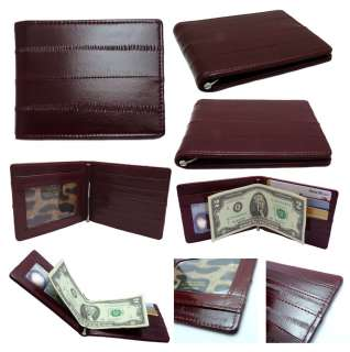 Genuine Eel skin Leather Money Clip Wallet Purse Credit card Case